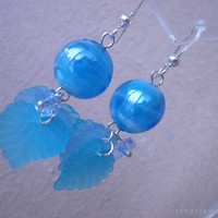Blue dangle earrings Blue lampwork dangles Blue leaves earrings Venetian glass earrings Murano jewelry Blue venetian glass earrings
