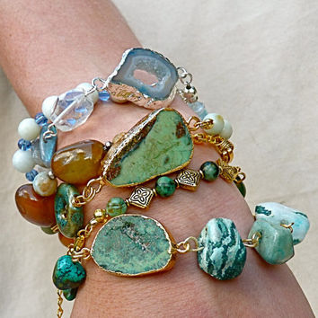 Artisan Green Turquoise or Blue Drusy Wrap Bracelet, trending, stone, mixed stone, wrist wrap, gold, silver, gift for mom, boho, hippie