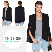 Black Satin Cape Blazer