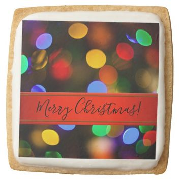 Multicolored Christmas lights. Add text or name. Square Shortbread Cookie