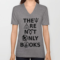 They Are Not Only Books V-neck T-shirt by phantastique