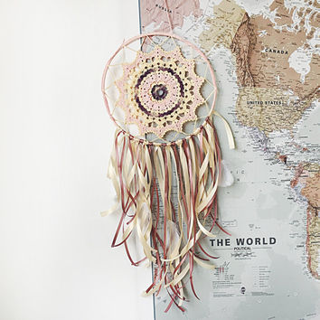 Dreamcatcher, Boho Dreamcatcher, Pastel Dreamcatcher, Boho Decoration, Pink Dreamcatcher, Boho Wall Hanging, Crochet,Gypsy, Bohemian, Hippie