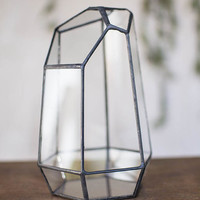 Terrarium, Geometric Glass, 7.5 in tall x 5 in wide, Clear & Bronze