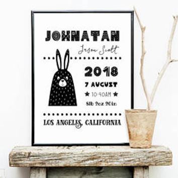 Birth announcement template, Birth stats print, Scandinavian gender neutral nursery decor, Custom unisex new baby gift Black and white bunny