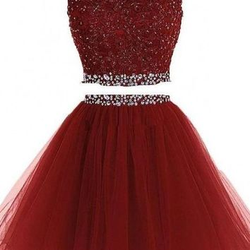 Two Piece Tulle Homecoming Dresses