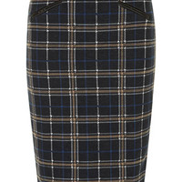 Blue/camel check pencil skirt