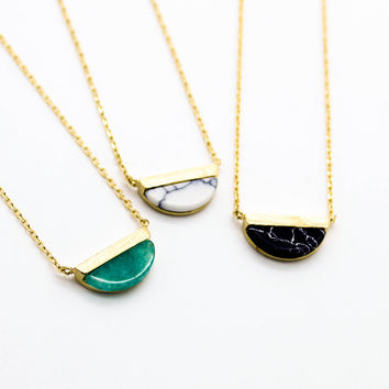 Half moon stone necklace
