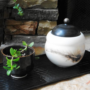 Black and White Raku Urn, Keepsake urn, Treasure jar, Lidded jar, Stash Jar, ceramic jar, Pet Urn, Father's day gift, Raku Jewelry Box
