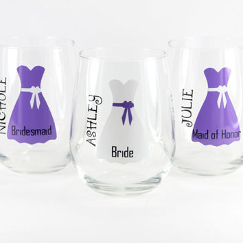 Personalized Stemless Wine Glasses, Unique Wine Glasses, Wedding Wine Glasses, Personalized Wedding, Bridesmaid Gifts, Glasses with Monogram
