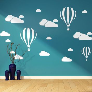 White Clouds & Hot Air Balloons Nursery Kids Childs Room Vinyl Wall Art Sticker Baby wall Decals Removable Waterproof D952