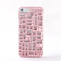 pink Hollow out critical crack case for iphone 5
