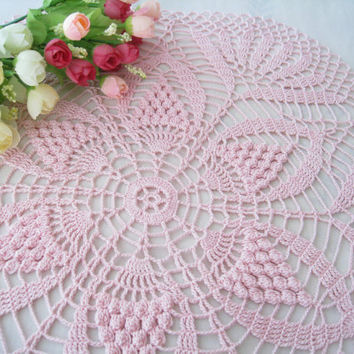 Crochet Doily Orchid Pink Round Water Lily Pattern Lace Table Cloth Shabby Chic Table Centerpiece Bedroom Decor Bridal Shower Gift