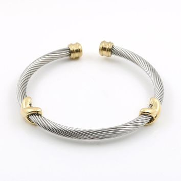 MSX Ladies bangles Cross Charming Stainless Steel Silver Stripe Wire Chain Cable Mens Womens Bracelet Bangle For Women Jewelry