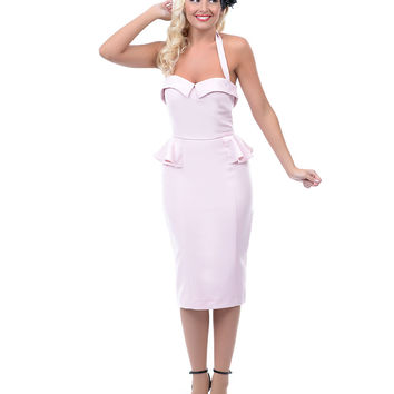 Stop Staring 1940s Style Dusty Rose Halter Elegance Wiggle Dress - Unique Vintage - Prom dresses, retro dresses, retro swimsuits.
