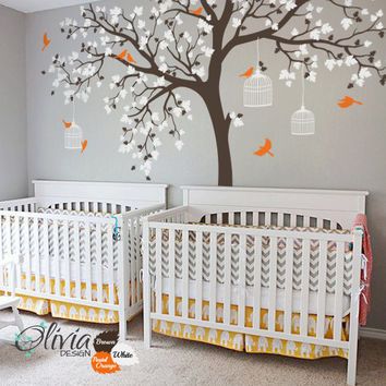 Beautiful Large Tree vinyl wall decal with birds and birdcages -NT012