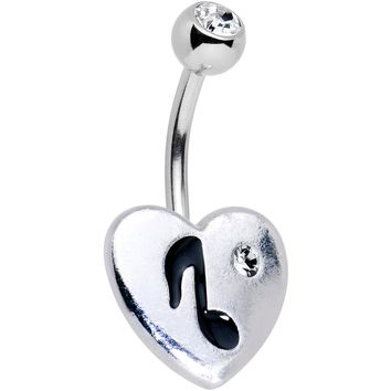 Clear Gem I Heart Music Belly Ring