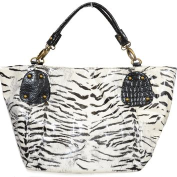 Zebra X-Large Fashion Tote Bag Purse Womens Faux Leather