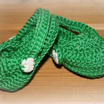 Fun green cotton baby crochet crocs etsy boys sandals shoes booties clogs summer 3 -6m crochetyknitsnbits
