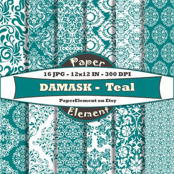 Teal Green Damask Digital Scrapbook Paper - Printable Backgrounds for Birthdays, Weddings and Anniversaries