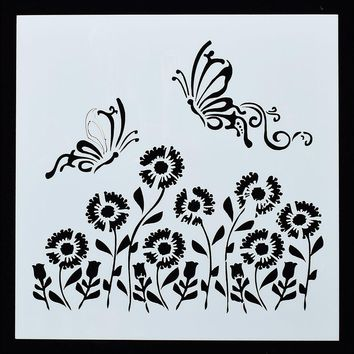 1PC Dragonfly Sunflower Shaped Reusable Stencil Airbrush Painting Art DIY Home Decor Scrap booking Album Crafts