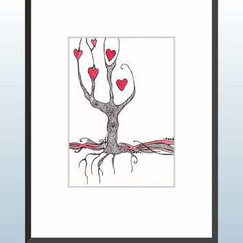 Original watercolor and ink illustration of red hearts on the tree. A5.