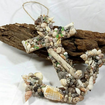 Seashell Anchor Hanging Wall Decor/Drift Wood Decorative Hanging Anchor/Green Sea Glass Ocean Decorative Wall Decor/Bathroom Beach Decor