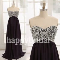 Long Black Beaded Prom Dresses Lovely Sweetheart Bridesmaid Dresses Party Dresses Homecoming Dresses 2014 Wedding Events