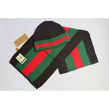 """Gucci"" Fashion Casual Women Wool Winter Knit Warmer Hat Cap Scarf Set G"