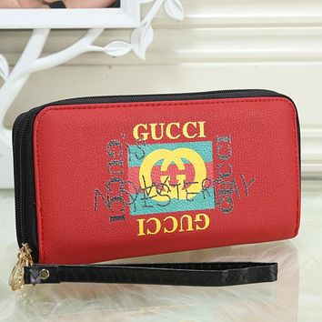 GUCCI Woman Men Clutch Bag Leather Wallet Tote Handbag