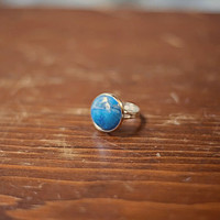 Handmade Vibrant Blue Howlite Stone Ring Round Silver Setting