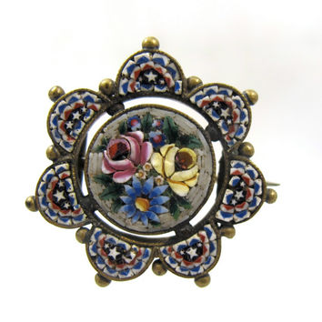Victorian Micro Mosaic Brooch, Micromosaic Tesserae Grand Tour Antique Mosaic Jewelry