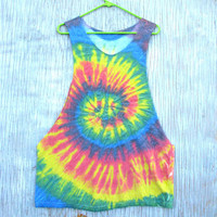 Rainbow Tie Dye Tank Top - Size Medium / Large Unisex Shirt - Spiral Design Hippie Hipster Sleeveless Summer T-Shirt