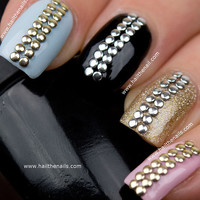 Gold & Silver Metallic  Studs Nail Art - This seasons must have nails.