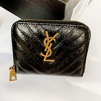 Louis Vuitton LV YSL Yves Saint Laurent Women Leather Zipper Wallet Purse