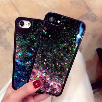 6S Glitter Bling Liquid Quicksand Phone Case For iPhone 6 6S 7 Plus Soft Silicone Edge Hard Plastic Transparent Back Cover Shell