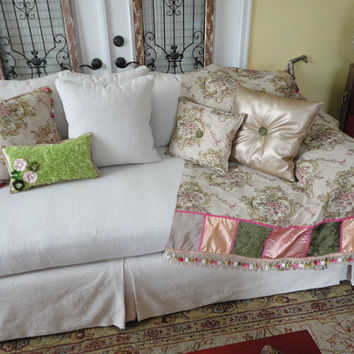 Fun Sofa Throw And Accent Pillow Set. Pink/gold/green/tan Throw