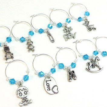 Baby Boy Wine Charms- 10 Blue Wine Glass Tags for Baby Shower, Wine Glass Accessories, Baby Charms, Favors, Gender Reveal Party
