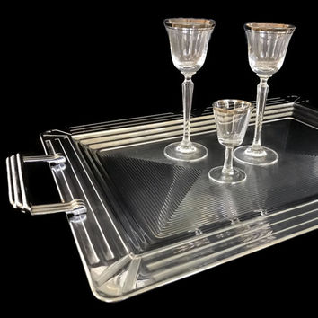Vintage Aluminum Tray Art Deco Design Large Rectangular Serving Tray with Handles Grooved Silver Metal Tray
