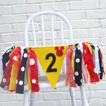 Mickey Mouse 2nd Birthday - Second Birthday banner - boy second birthday - mickey mouse party - mickey mouse - mickey mouse banner