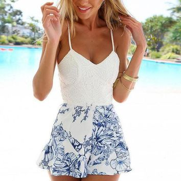 CREYON Day First Floral Print Lace Crochet Romper