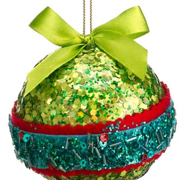 """3.5"""" Christmas Brites Green Red and Blue Sequin and Bead Ball Ornament with Bow"""