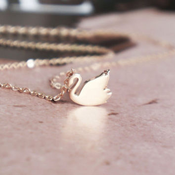 Rose gold swan necklace