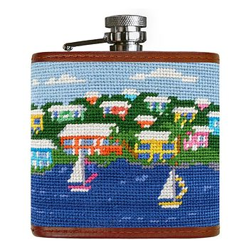 Island Time Needlepoint Flask by Smathers & Branson