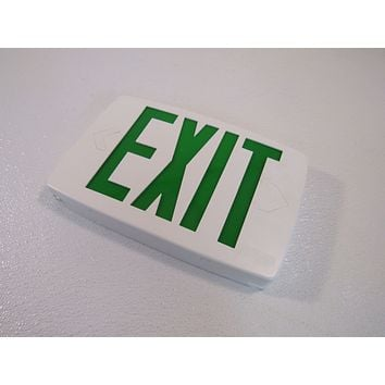 Lithonia Lighted Exit Sign Single Side White/Green 120 VAC 277 VAC 388087 -- New