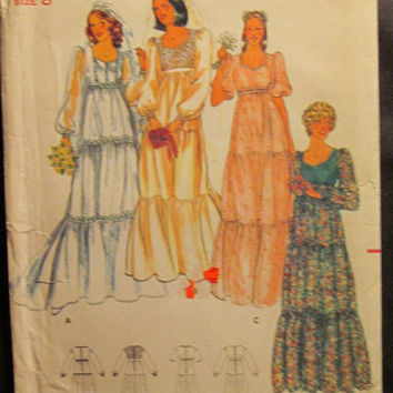 SALE Uncut 1970's Butterick Sewing Pattern, 5938! Size 8 Women's/Misses/Small/Wedding Dresses/Bridesmaid Dress/Formal Dress/Tiered Dress
