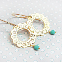Lace & Turquoise - filigree lace gold filled earrings, simple everyday wear, minimalist jewelry, bridal