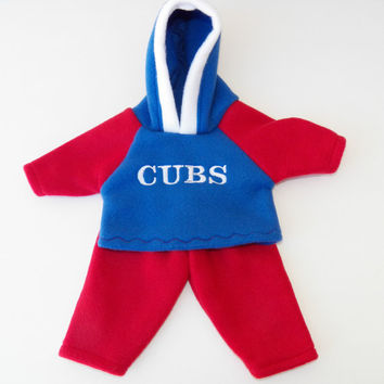 """bitty baby clothes, doll boy, girl or twin 15"""" , american made by adorabledolldesigns, royal red white, baseball fan, hoodie pants, hooded"""