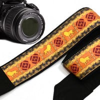 Leo Camera Strap. Ethnic Camera Strap, African Camera Strap. Yellow. Accessories