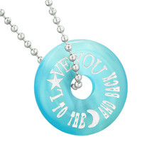 Inspirational Love You to the Moon and Back Amulet Lucky Donut Blue Simulated Cats Eye 22 Inch Necklace