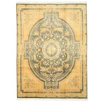 EORC Hand-knotted Wool Green transitional Floral Savonnerie Rug